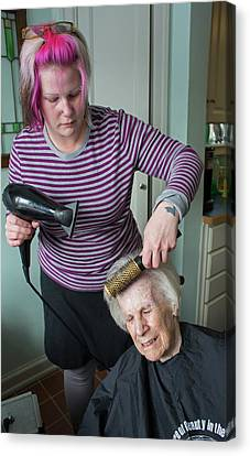 Hair Cuts Canvas Print - Elderly Lady Having Her Haircut by Jim West