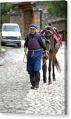 Elderly Naxi Woman With Her Horse Canvas Print by Tony Camacho