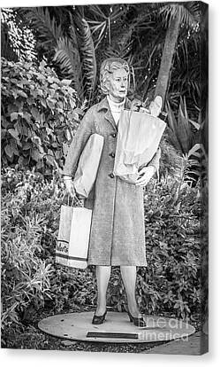 Elderly Shopper Statue Key West - Black And White Canvas Print by Ian Monk