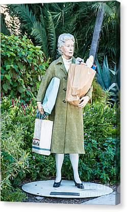 Elderly Shopper Statue Key West Canvas Print by Ian Monk