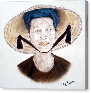 Elderly Vietnamese Woman Wearing A Conical Hat Canvas Print by Jim Fitzpatrick