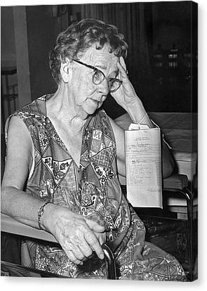 Elderly Woman At Hospital Canvas Print