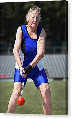 Elderly Woman Competitive Weights Thrower Canvas Print