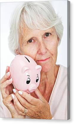 Piggy Bank Canvas Print - Elderly Woman With A Piggy Bank by Lea Paterson