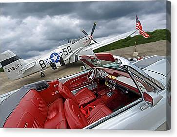 Eleanor Cockpit With P51 Mustang Canvas Print by Gill Billington