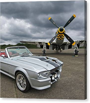 Eleanor Mustang With P51 Canvas Print by Gill Billington