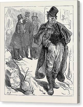 Election Sketches The Irish Vote 1880 Canvas Print by English School