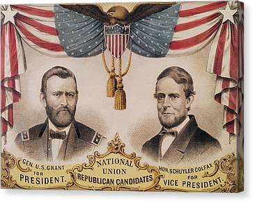 Electoral Poster For The Usa Presidential Election Of 1868 Canvas Print by American School