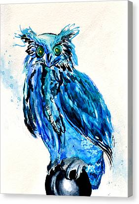 Electric Blue Owl Canvas Print by Beverley Harper Tinsley