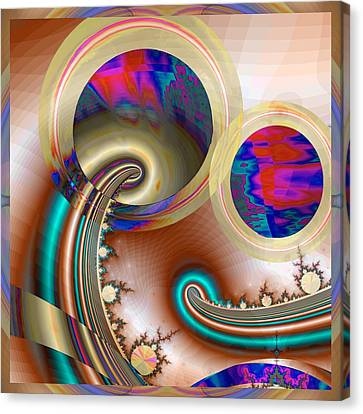 Fractal Orbs Canvas Print - Electric Blue by Wendy J St Christopher