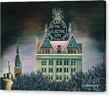 Electric City At Night Canvas Print by Austin Burke
