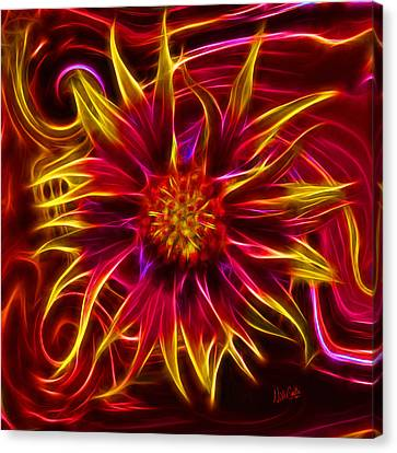 Electric Firewheel Flower Artwork Canvas Print by Nikki Marie Smith