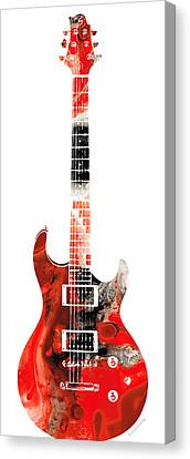 Electric Guitar - Buy Colorful Abstract Musical Instrument Canvas Print by Sharon Cummings