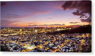City-scapes Canvas Print - Electric Honolulu by Sean Davey