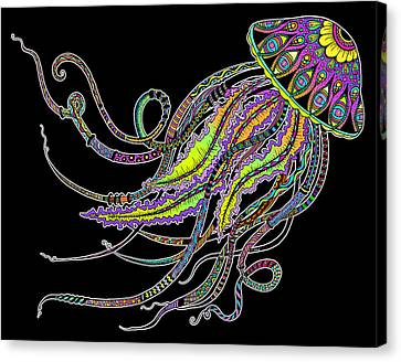 Canvas Print featuring the drawing Electric Jellyfish On Black by Tammy Wetzel