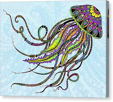 Canvas Print featuring the drawing Electric Jellyfish by Tammy Wetzel