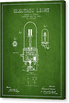 Electric Light Patent From 1880 - Green Canvas Print by Aged Pixel