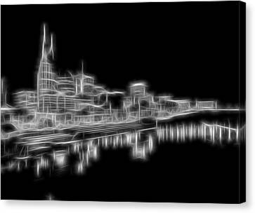 Electric Nashville Skyline At Night Canvas Print by Dan Sproul