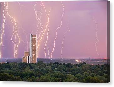 Canvas Print featuring the photograph Electric Night - Cityplex Towers - Tulsa Oklahoma by Gregory Ballos