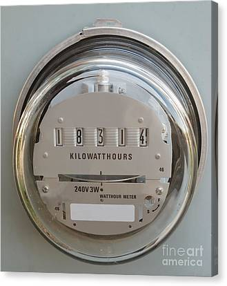 Electric Power Supply Watthour Meter Glass Covered Canvas Print by Stephan Pietzko