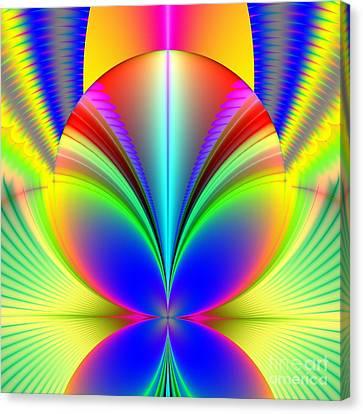Electric Rainbow Orb Fractal Canvas Print by Rose Santuci-Sofranko