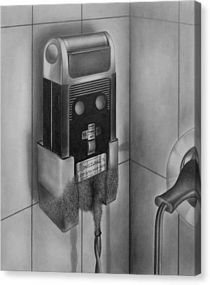 Vintage Canvas Print - Electric Shaver With Beard - Pencil by Art America Gallery Peter Potter