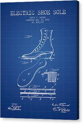 Electric Shoe Sole Patent From 1893 - Blueprint Canvas Print by Aged Pixel