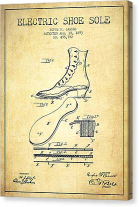 Electric Shoe Sole Patent From 1893 - Vintage Canvas Print