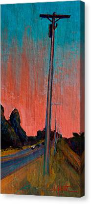Electric Sunset Canvas Print by Athena  Mantle