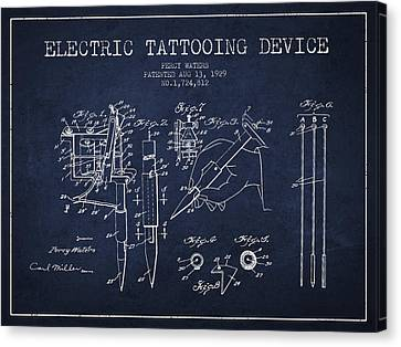 Electric Tattooing Device Patent From 1929 - Navy Blue Canvas Print