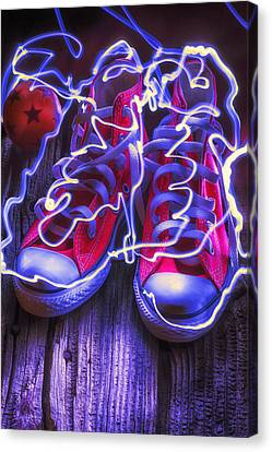 Tennis Shoe Canvas Print - Electric Tennis Shoes  by Garry Gay
