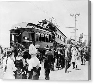 1916 Canvas Print - Electric Trains Collision by Underwood Archives
