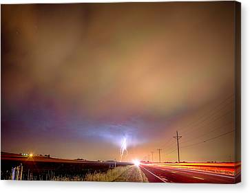 The Lightning Man Canvas Print - Electrical Charged Green Lightning Thunderstorm by James BO  Insogna
