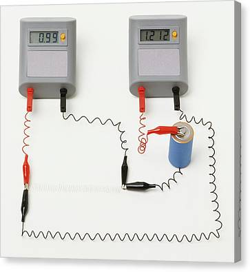 Electrical Circuit With Ammeter Canvas Print by Dorling Kindersley/uig