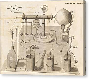 Electrical Experiments, 19th Century Canvas Print by Science Photo Library