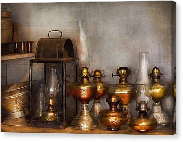 Electrician - A Collection Of Oil Lanterns  Canvas Print by Mike Savad