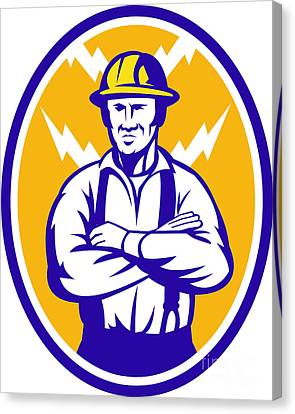 Electrician Construction Worker Lightning Bolt Canvas Print by Aloysius Patrimonio