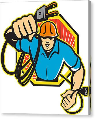 Electrician Construction Worker Retro Canvas Print by Aloysius Patrimonio