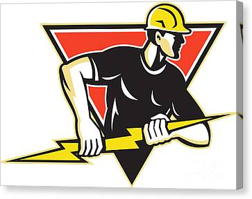 Workers Canvas Print - Electrician Lightning Bolt Retro by Aloysius Patrimonio