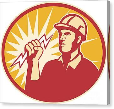 Electrician Power Line Worker Lightning Bolt Canvas Print by Aloysius Patrimonio