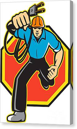 Electrician Worker Running Electrical Plug Canvas Print by Aloysius Patrimonio