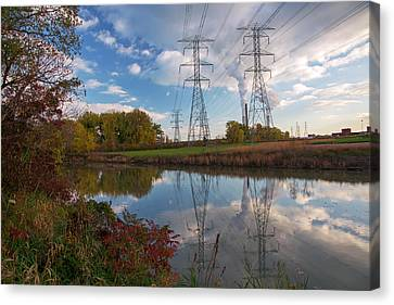 Electricity Pylons By A Lake Canvas Print by Jim West