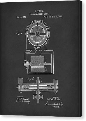 Electro Magnetic Motor Tesla 1888 Patent Art Black Canvas Print by Prior Art Design