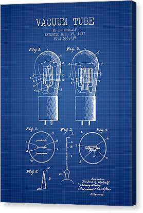 Electrode Vacuum Tube Patent From 1927 - Blueprint Canvas Print by Aged Pixel
