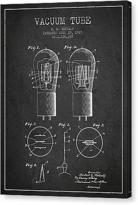 Electrode Vacuum Tube Patent From 1927 - Charcoal Canvas Print by Aged Pixel