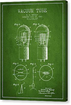 Electrode Vacuum Tube Patent From 1927 - Green Canvas Print by Aged Pixel