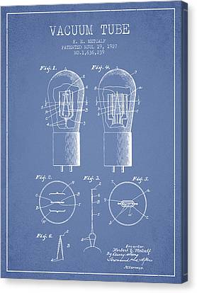 Electrode Vacuum Tube Patent From 1927 - Light Blue Canvas Print by Aged Pixel