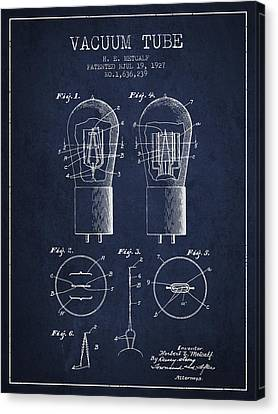Electrode Vacuum Tube Patent From 1927 - Navy Blue Canvas Print by Aged Pixel