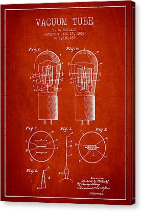 Electrode Vacuum Tube Patent From 1927 - Red Canvas Print by Aged Pixel