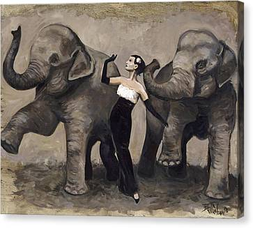 Elegance And Elephants Canvas Print by Billie Colson
